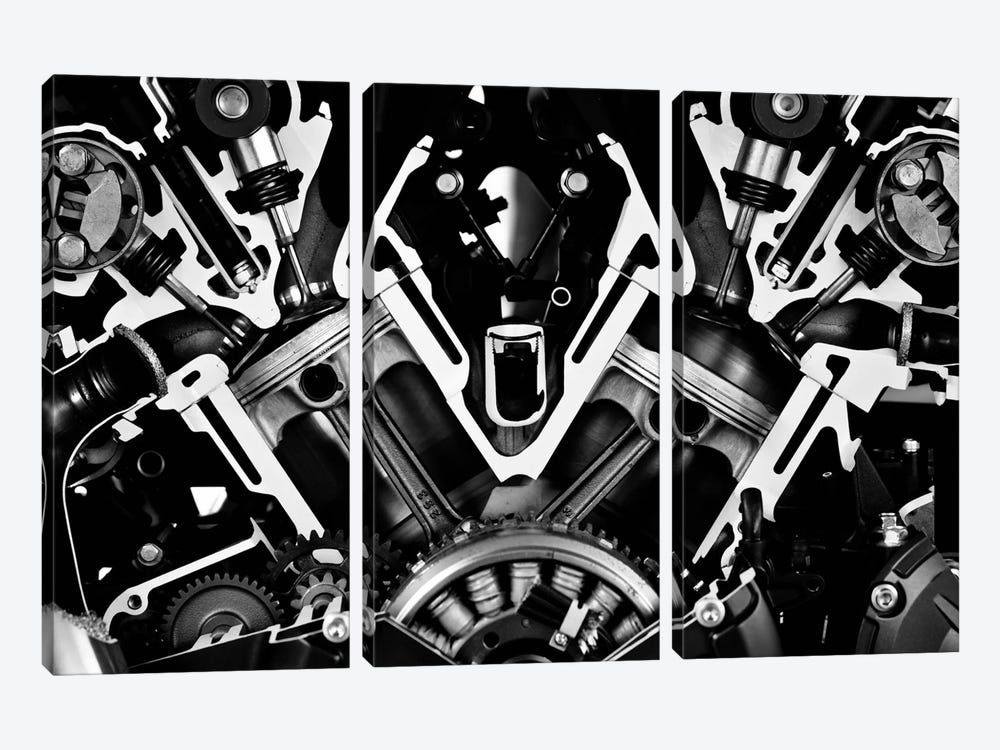 Car Engine Front Grayscale by Unknown Artist 3-piece Art Print