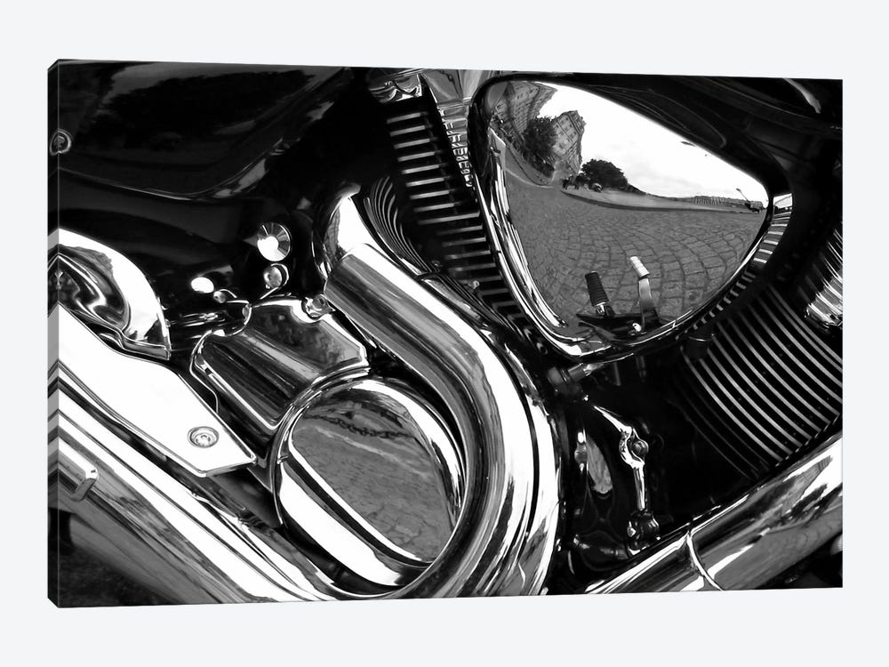 Motorcycle Engine Grayscale ll 1-piece Canvas Art