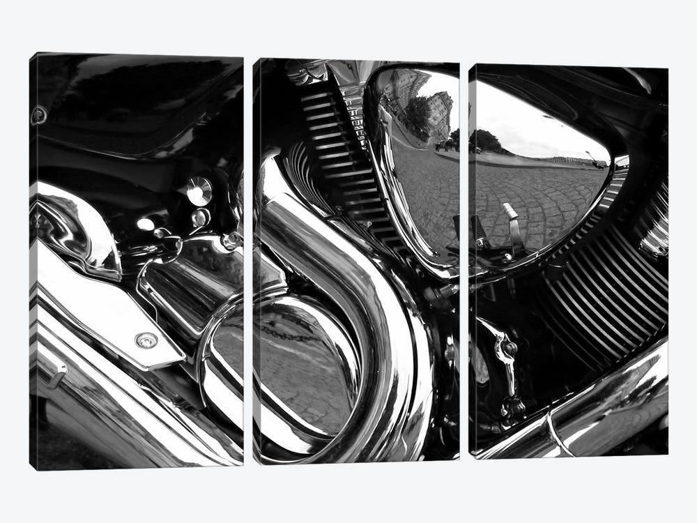 Motorcycle Engine Grayscale ll 3-piece Canvas Art