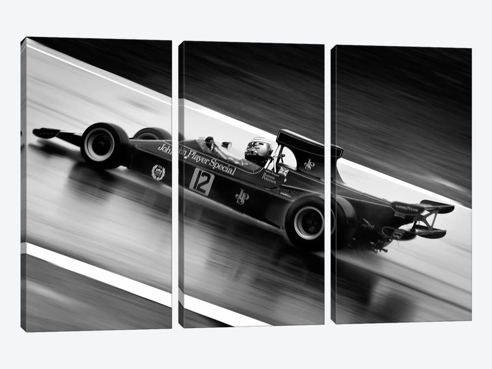 F1 Wet Track Grayscale 3-piece Canvas Art Print