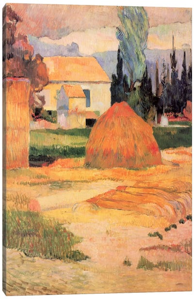 Haystack in Village Canvas Art Print