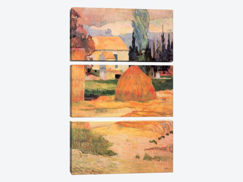 Haystack in Village by Paul Gauguin 3-piece Canvas Artwork