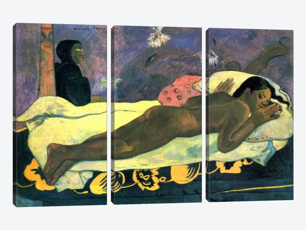 Girl in Bed by Paul Gauguin 3-piece Canvas Print