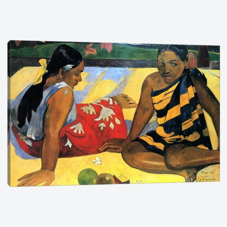 Two Women Sitting Canvas Print #1289} by Paul Gauguin Canvas Artwork