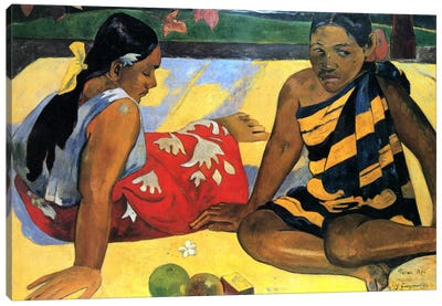 Two Women Sitting Canvas Art Print