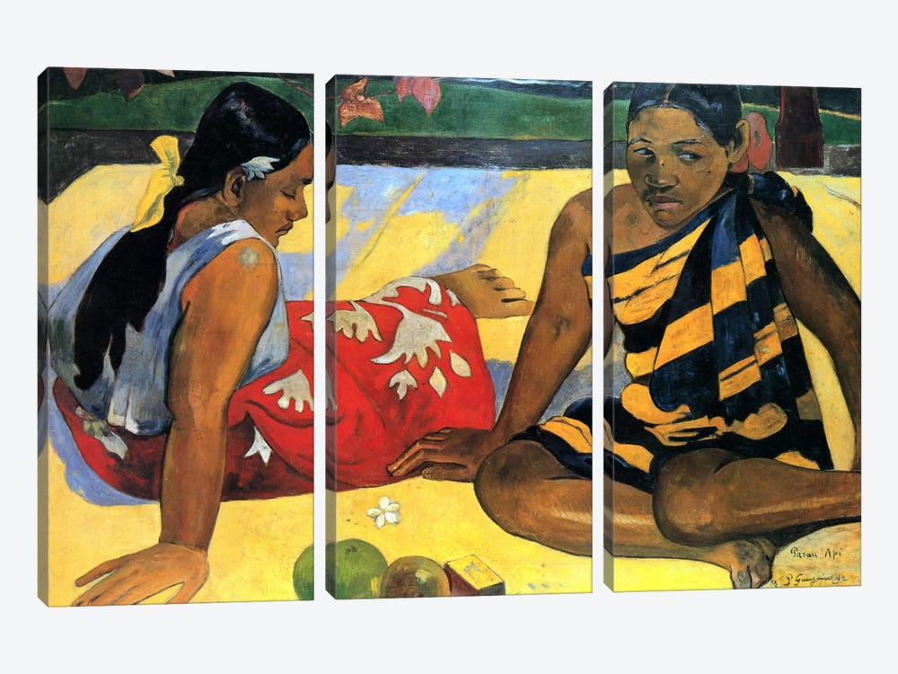 Two Women Sitting by Paul Gauguin 3-piece Canvas Wall Art