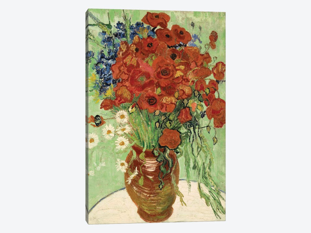 Vase with Daisies and Poppies by Vincent van Gogh 1-piece Canvas Art