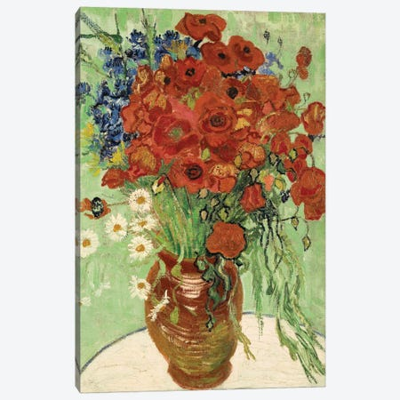 Vase with Daisies and Poppies 3-Piece Canvas #1319} by Vincent van Gogh Canvas Wall Art