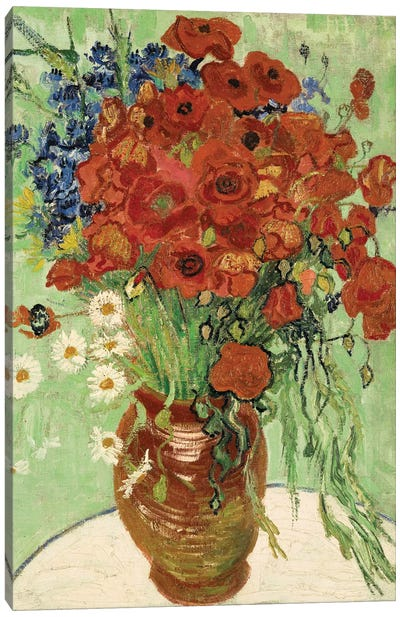 Vase with Daisies and Poppies Canvas Art Print