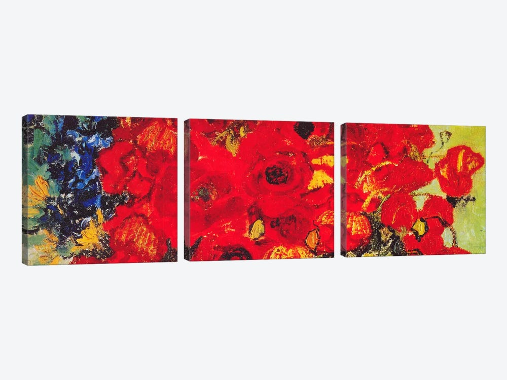 Vase with Daisies & Poppies by Vincent van Gogh 3-piece Canvas Art Print