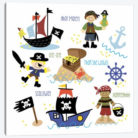 Pirates & Ships 3-Piece Canvas #13287} by Erin Clark Canvas Print