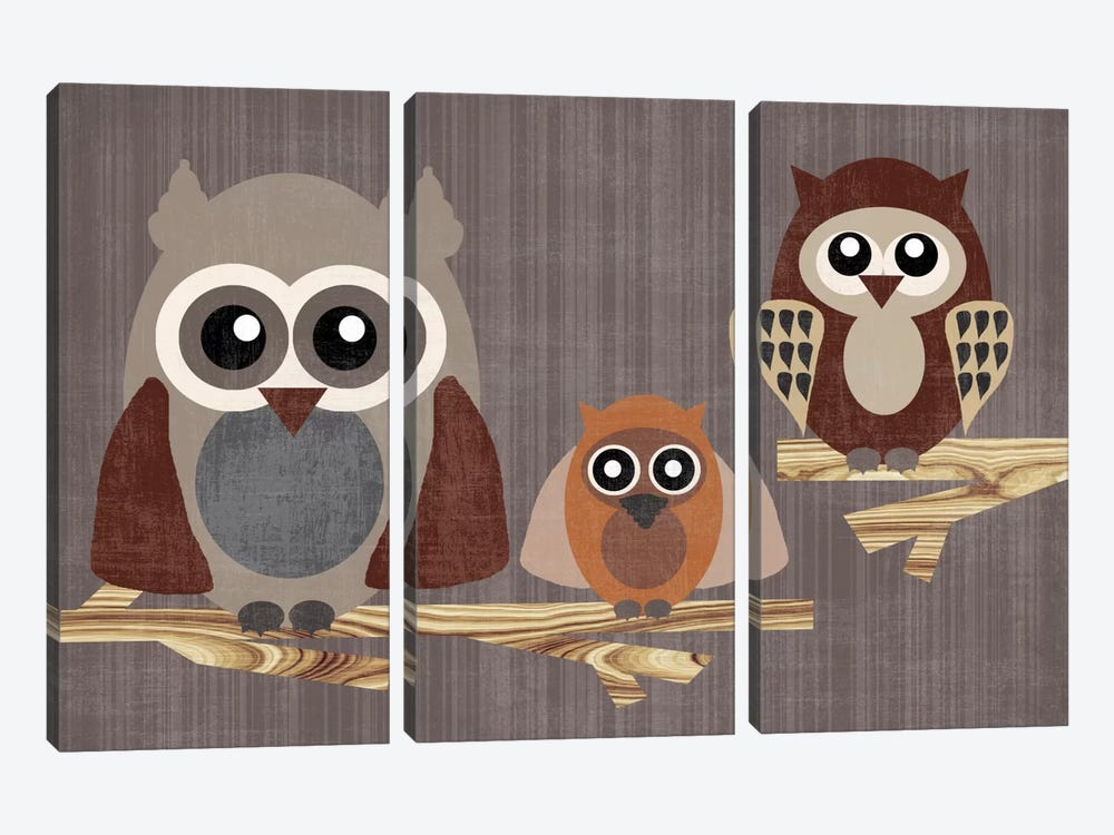 Owls by Erin Clark 3-piece Canvas Wall Art