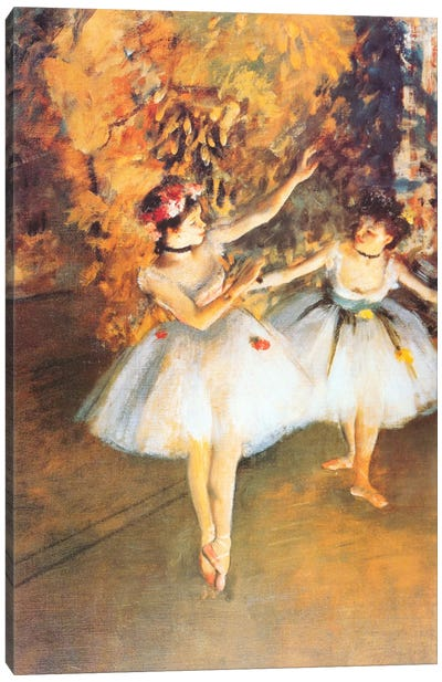 Two Dancers on Stage (alla Barra) by Edgar Degas Canvas Art Print