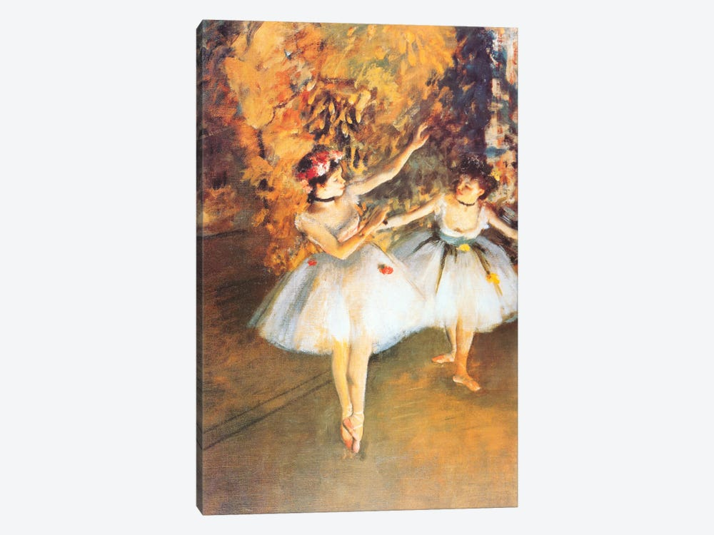 Two Dancers on Stage (alla Barra) by Edgar Degas 1-piece Canvas Art Print