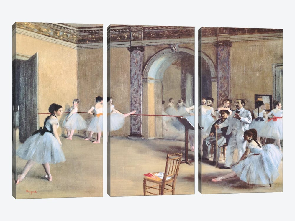 The Dance Foyer At The Opera by Edgar Degas 3-piece Art Print