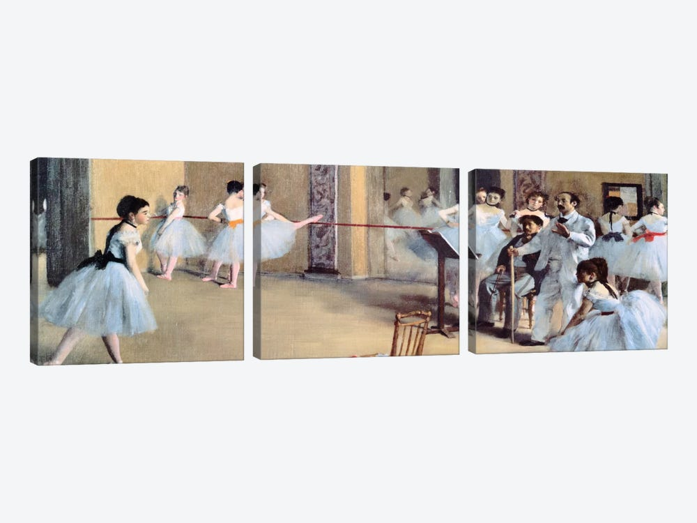 The Dance Foyer At The Opera by Edgar Degas 3-piece Canvas Print