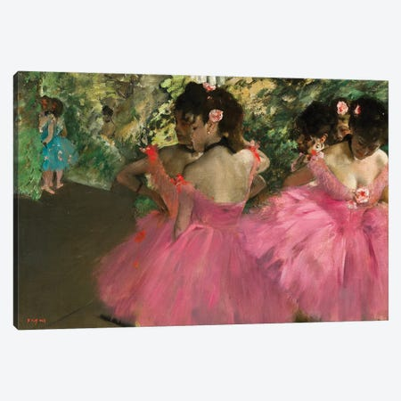 Ballerina In Red Canvas Print #1331} by Edgar Degas Canvas Wall Art