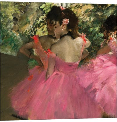 Ballerina In Red by Edgar Degas Canvas Wall Art