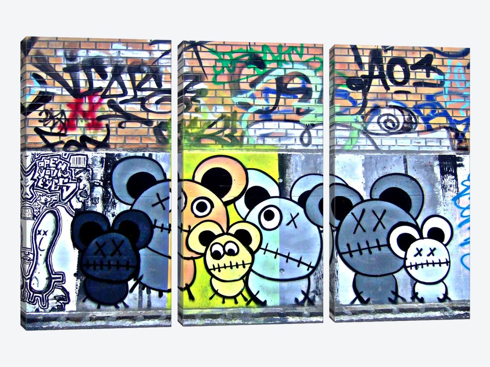 Of Mostly Mice Graffiti by Unknown Artist 3-piece Canvas Art