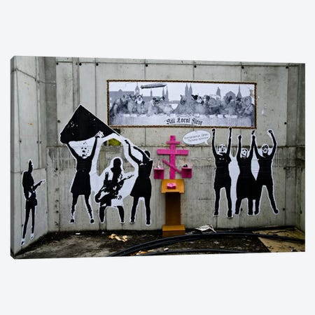 Dogs Last Supper Graffiti Canvas Print #13348} by Unknown Artist Art Print