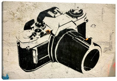 Camera Graffiti Canvas Art Print