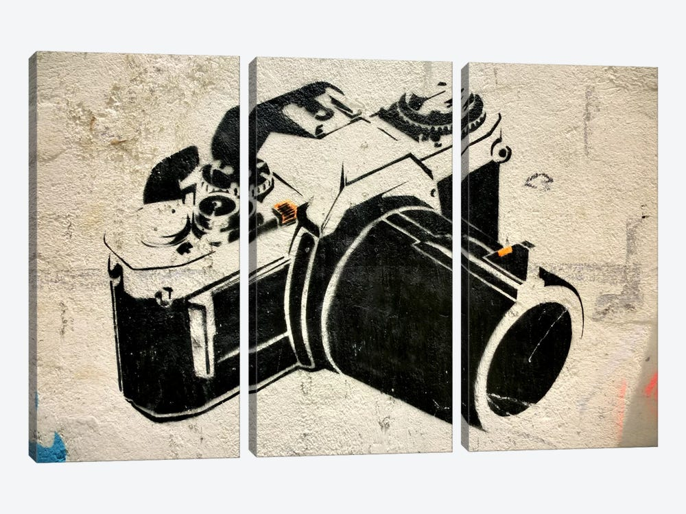 Camera Graffiti 3-piece Canvas Print
