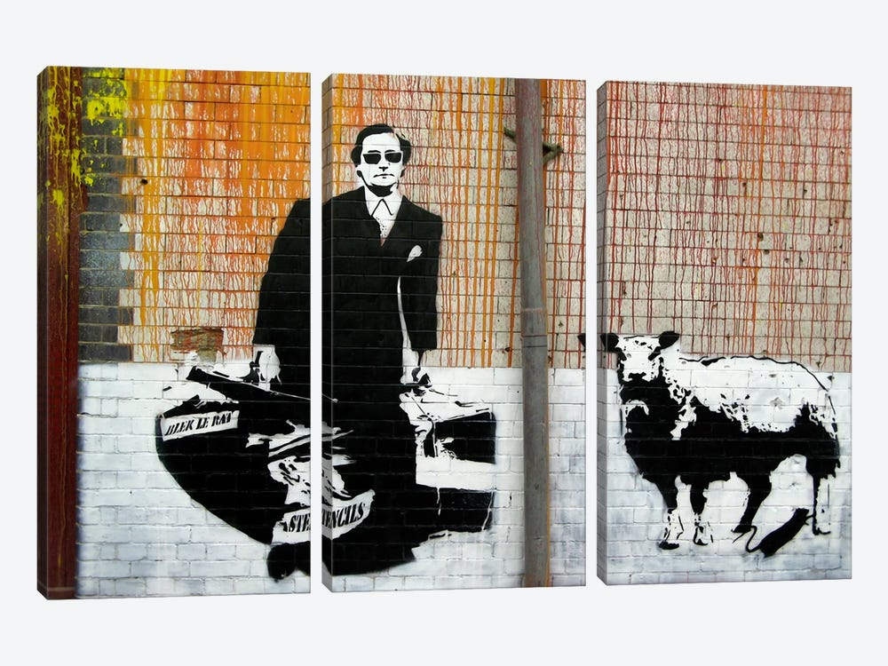 Blek Le Rat Graffiti 3-piece Canvas Art