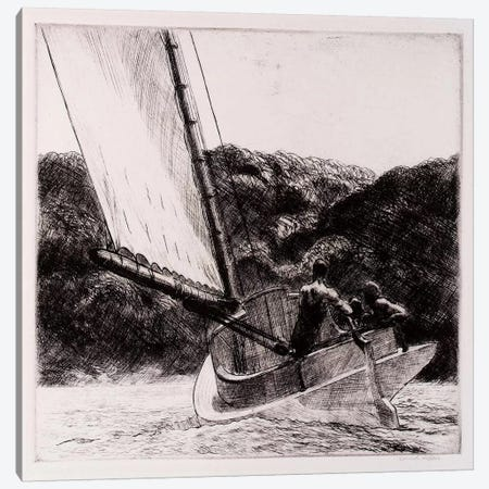 The Cat Boat Canvas Print #13367} by Edward Hopper Canvas Wall Art