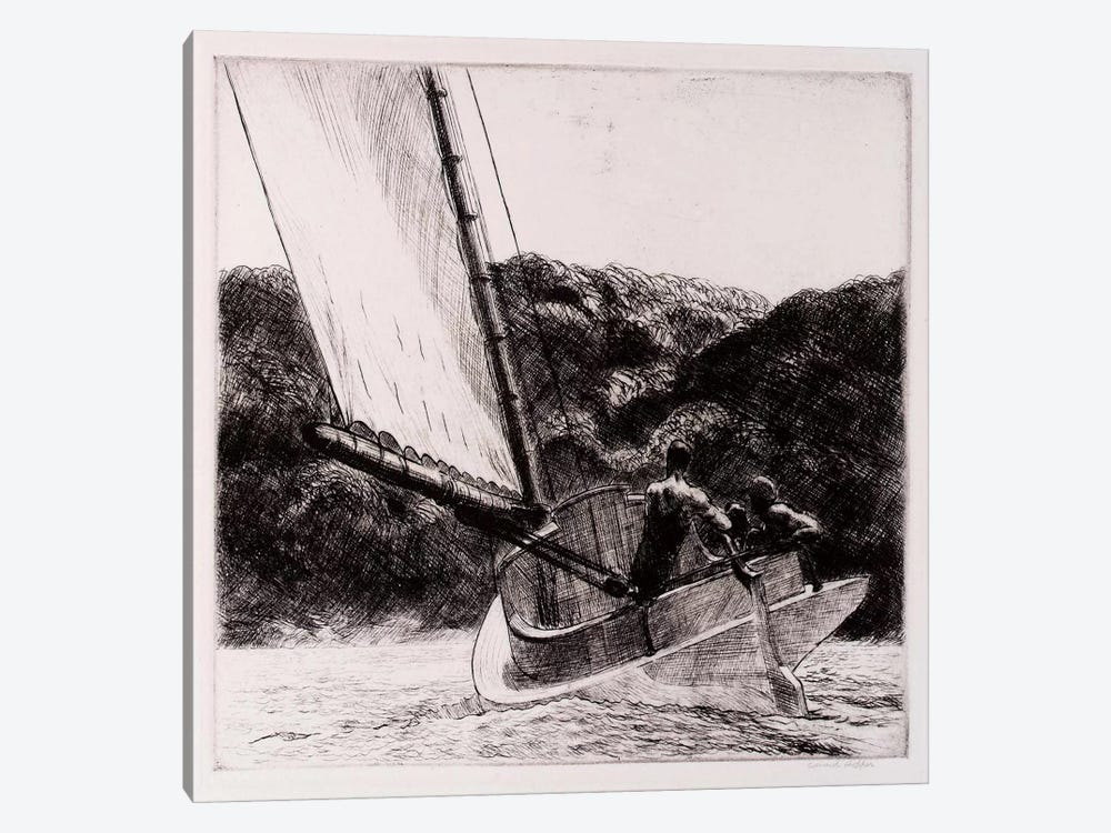 The Cat Boat by Edward Hopper 1-piece Canvas Print
