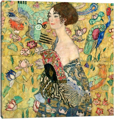 Lady with a Fan by Gustav Klimt Canvas Art Print