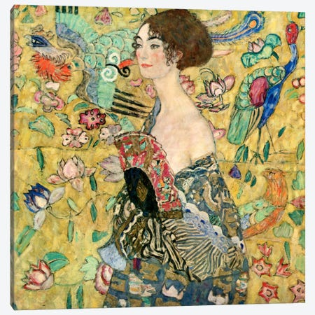Lady with a Fan Canvas Print #1336} by Gustav Klimt Canvas Print