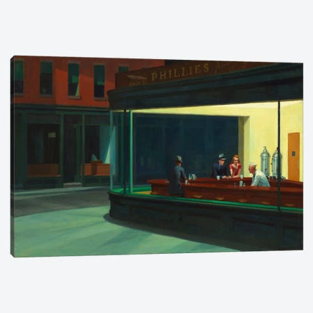 Nighthawks, 1942 by Edward Hopper Canvas Wall Art