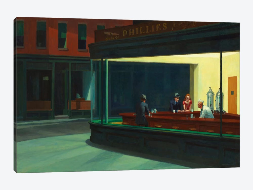 Nighthawks, 1942 by Edward Hopper 1-piece Canvas Art Print