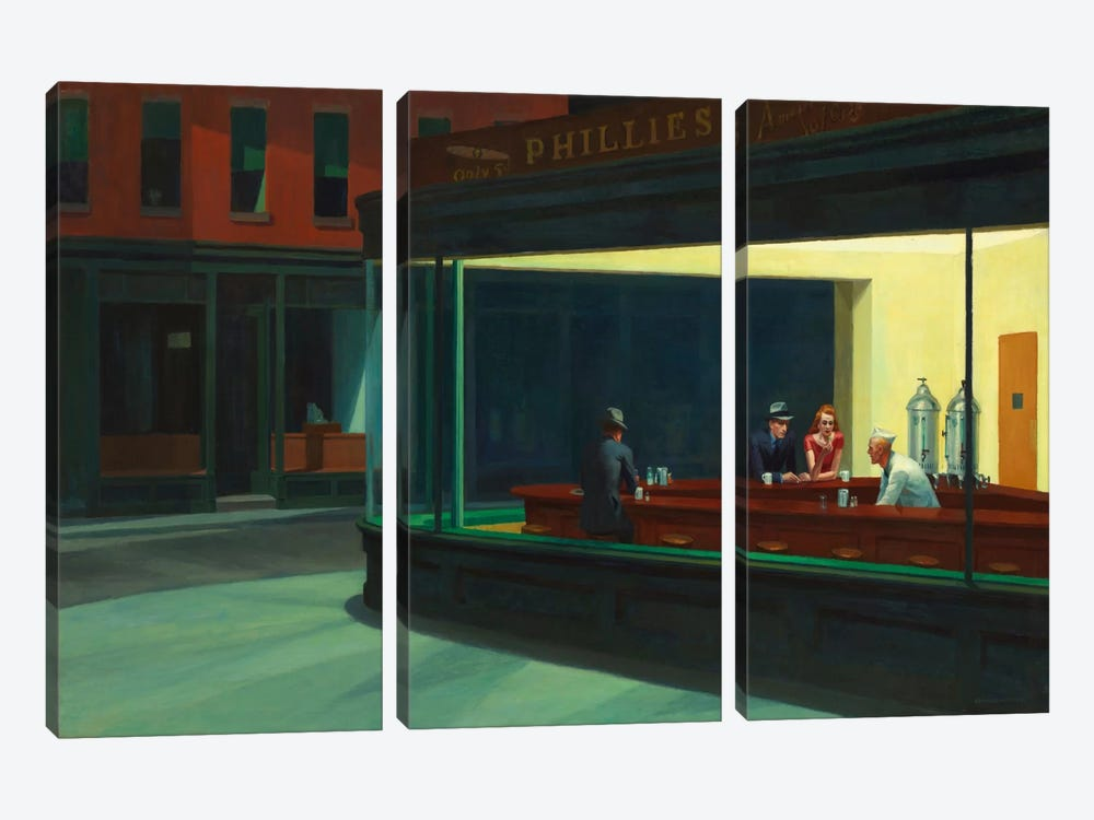 Nighthawks, 1942 by Edward Hopper 3-piece Art Print