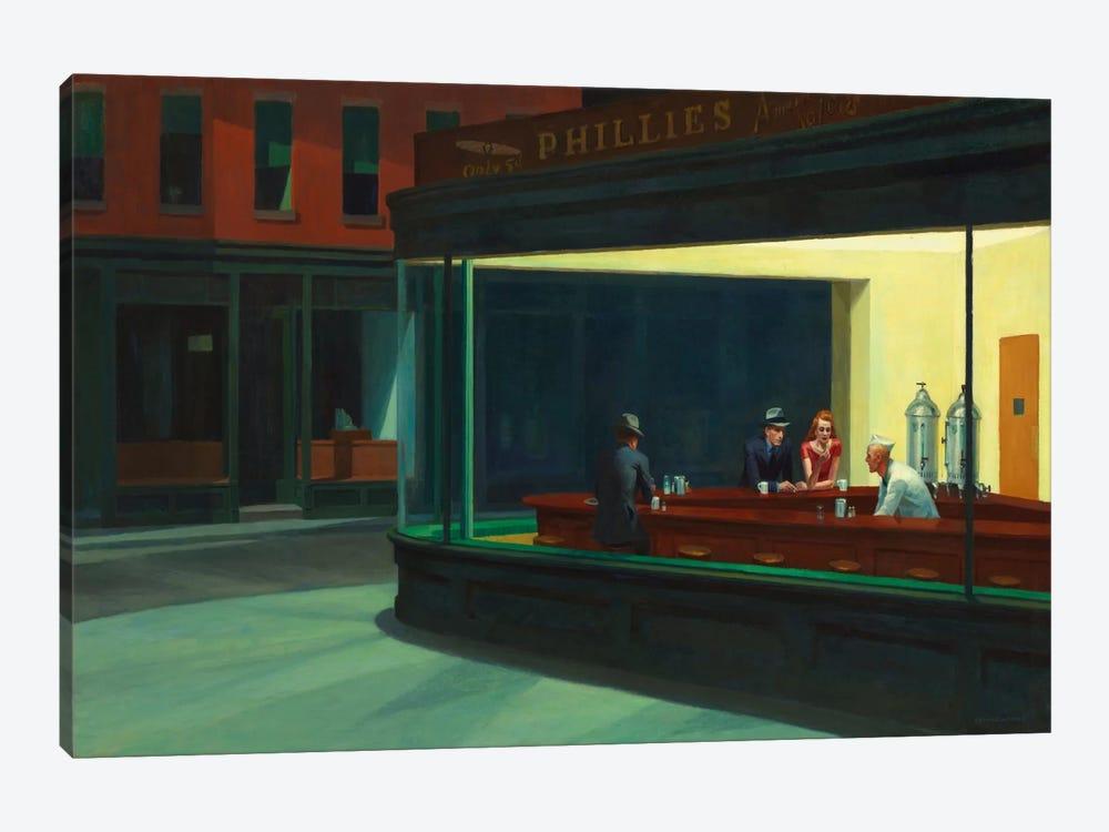 Nighthawks, 1942 by Edward Hopper 1-piece Canvas Art Print
