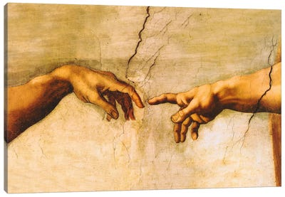 The Creation of Adam, C.1510 by Michelangelo Canvas Wall Art