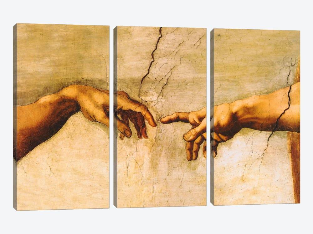 The Creation of Adam, C.1510 by Michelangelo 3-piece Art Print