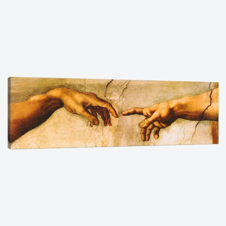 The Creation of Adam Canvas Print #1338PANa} by Michelangelo Canvas Wall Art