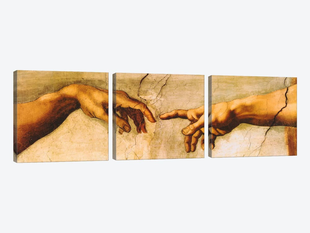 The Creation of Adam by Michelangelo 3-piece Canvas Artwork