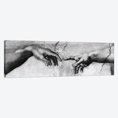 The Creation of Adam V Canvas Print #1338PANe} by Michelangelo Canvas Art Print