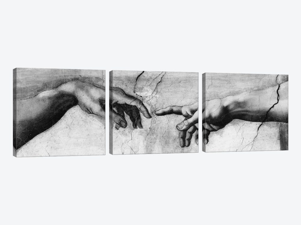 The Creation of Adam V by Michelangelo 3-piece Canvas Artwork