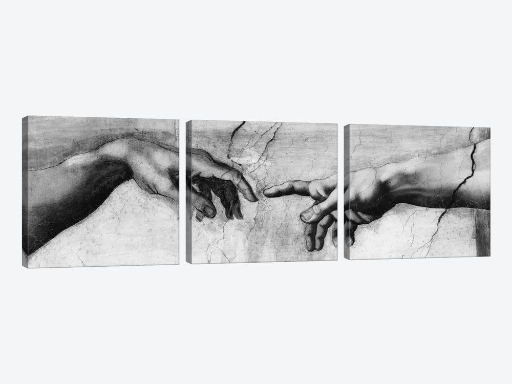 The Creation of Adam V by Michelangelo 3-piece Canvas Artwork