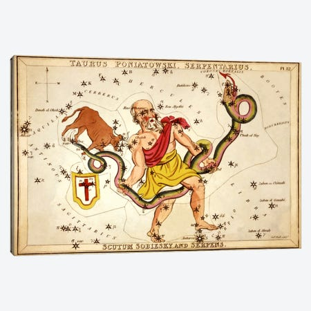 Ophiuchus, 1825 Canvas Print #13419} by Sidney Hall Canvas Art Print
