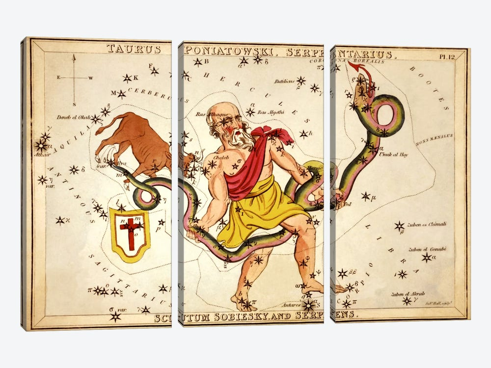 Ophiuchus, 1825 by Sidney Hall 3-piece Art Print