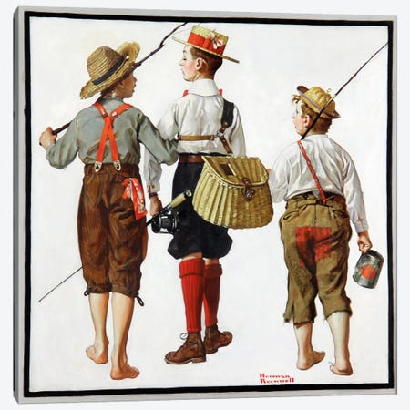 The Fishing Trip Canvas Print #13437} by Norman Rockwell Canvas Artwork