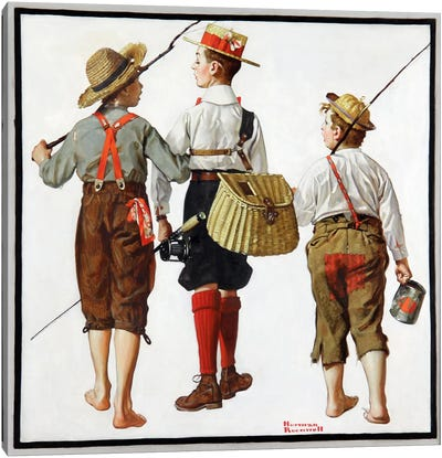 The Fishing Trip by Norman Rockwell Canvas Artwork