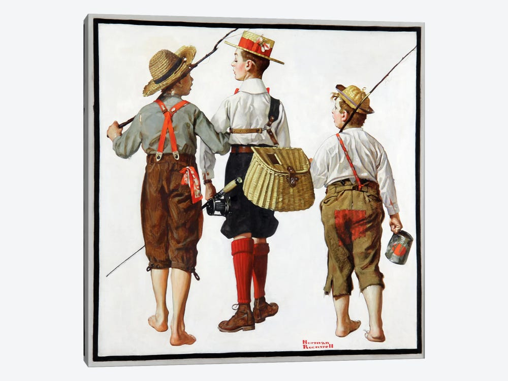 The Fishing Trip by Norman Rockwell 1-piece Canvas Art Print