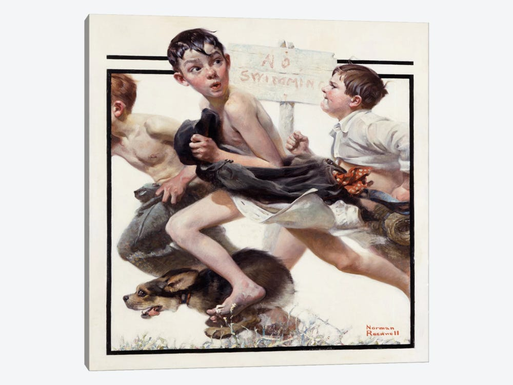 No Swimming by Norman Rockwell 1-piece Canvas Artwork