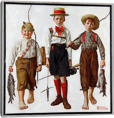 The Catch by Norman Rockwell Canvas Wall Art