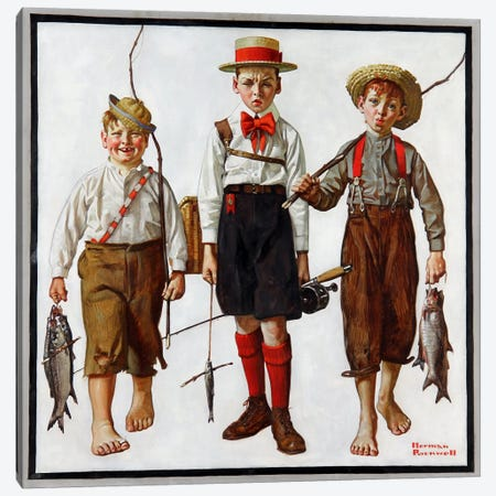 The Catch Canvas Print #13440} by Norman Rockwell Canvas Wall Art